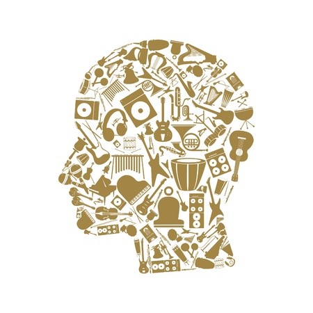 Head made of musical instruments Vector