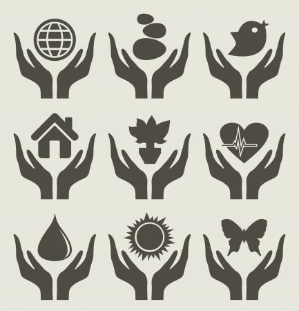 meisje silhouet: De vrouwelijke hand houdt de aard Stock Illustratie