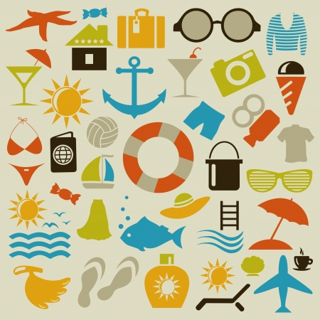 Set von Icons auf ein Thema ein Strand. Ein Vektor-Illustration
