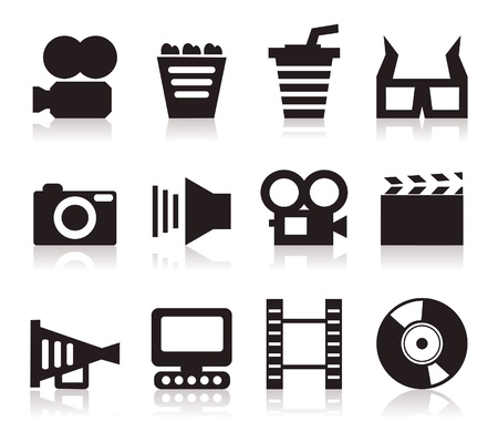 Set of icons on a cinema theme. A vector illustration