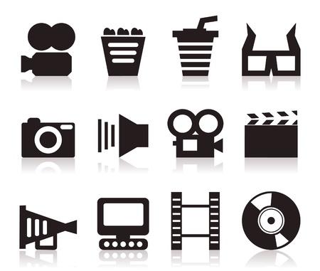 kammare: Uppsättning av ikoner på en biograf tema. En vektor illustration