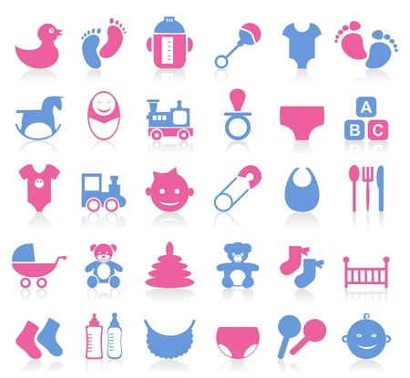 pampers: Set of icons on a theme baby  A vector illustration
