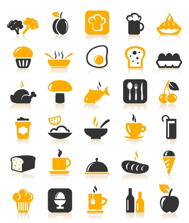 cherry pie: Set of icons on a theme food  A vector illustration