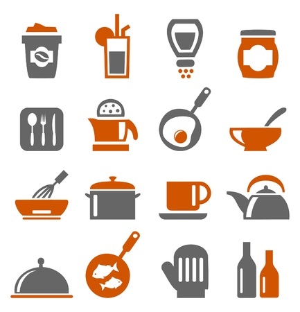 dishes set: Set of icons on a theme kitchen  A vector illustration