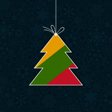 blizzard: The Christmas tree consists of snowflakes   Illustration