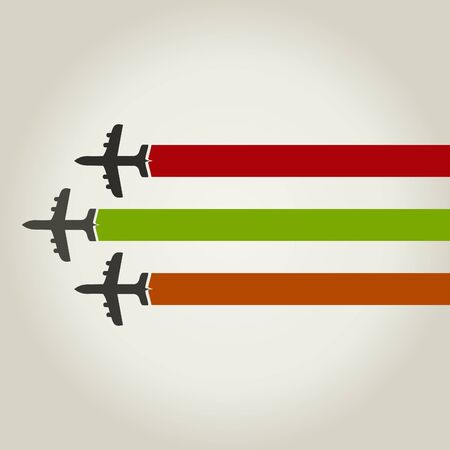 Three planes together fly Stock Vector - 15579908