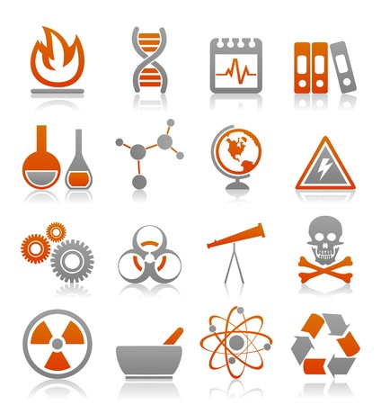 Icons on a science theme   Vector