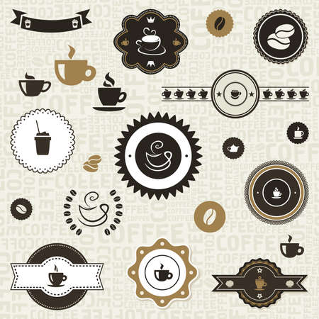 coffee grains: Set of coffee labels. A  illustration Illustration