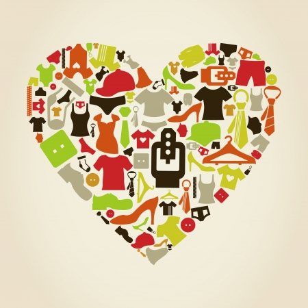Heart made of clothes  A  illustration Vector