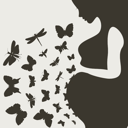 From the pregnant girl butterflies fly  A  illustration