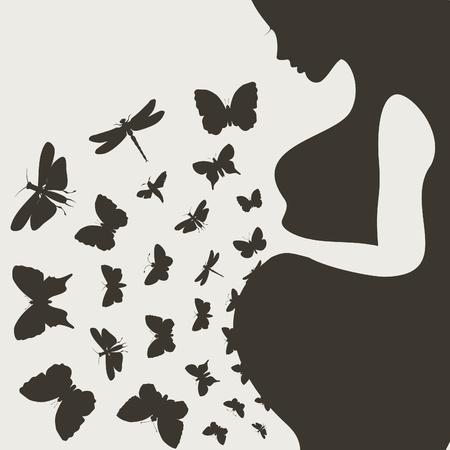Von der schwangeren Mädchen Schmetterlinge fliegen einem Illustration