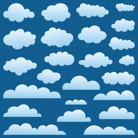 Collection of clouds on a blue background  A  illustration Stock Vector - 15680776