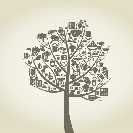 wijn en spijzen: Boom met een oud wijf van voedsel Een illustratie Stock Illustratie