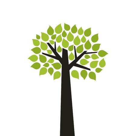 Albero con una vecchia verde, illustrazione
