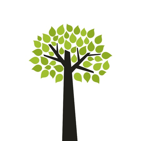 Tree with a green crone  A  illustration Vector