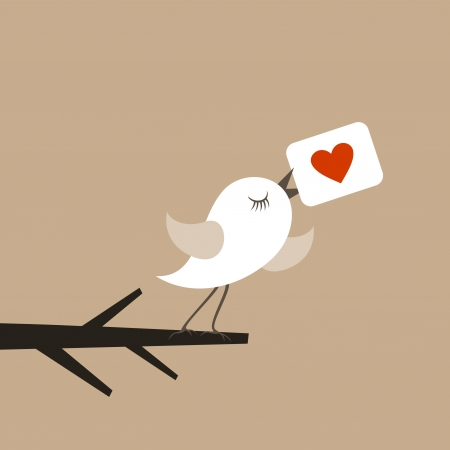 The birdie holds a love card. A vector illustration