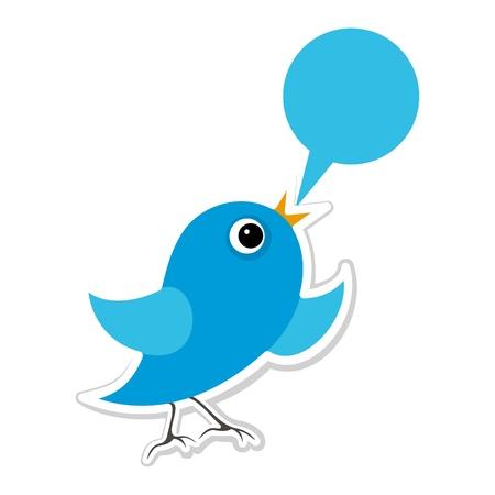 De blauwe vogeltje zingt. Een vector illustratie
