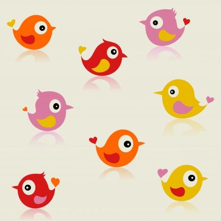 birdie: Set di piccoli uccellini allegri. Una illustrazione vettoriale