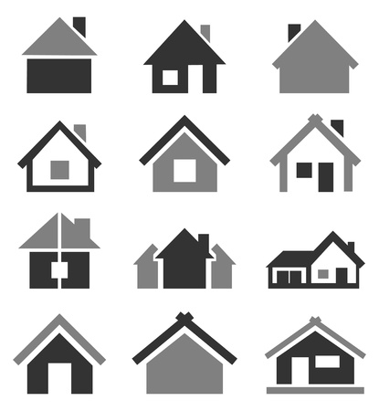residential district: Set of icons of houses  A vector illustration