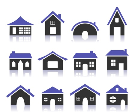 suburb: Set of icons of houses  A vector illustration