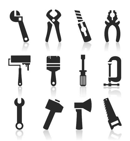 secateurs: The collection of icons of tools  A vector illustration