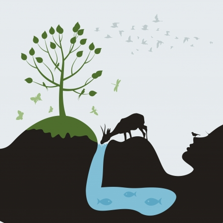 ringlet: The pregnant woman in the nature  A vector illustration Illustration