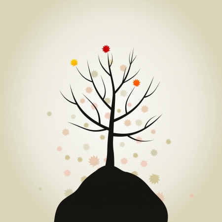 From a tree the foliage falls down  A vector illustration Vector