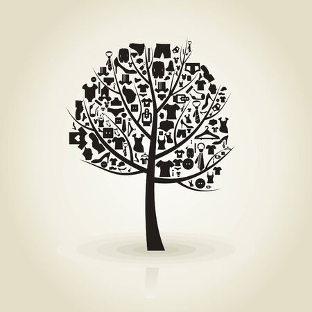 Tree with a crone from clothes  A vector illustration Vector