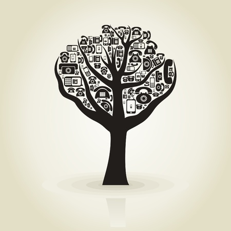 crone: Tree with a crone from phones  A vector illustration
