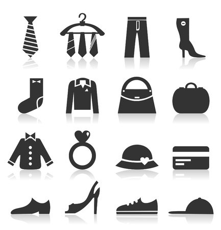 Set of icons on a theme clothes   Vector