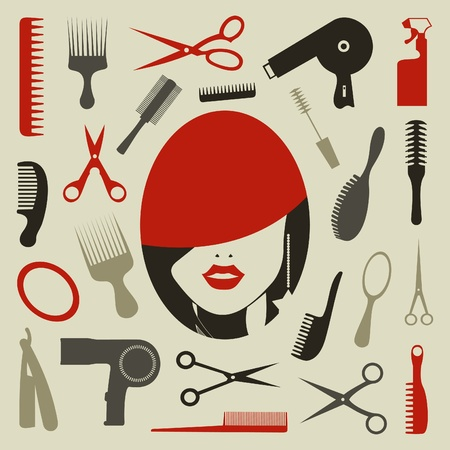 Outillage une coiffure pour la conception Vecteurs