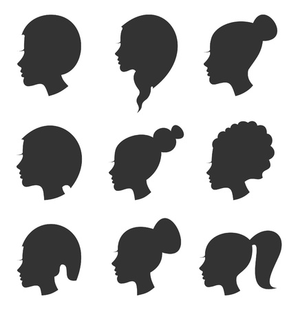 shadow silhouette: Set of hairstyles of female hair