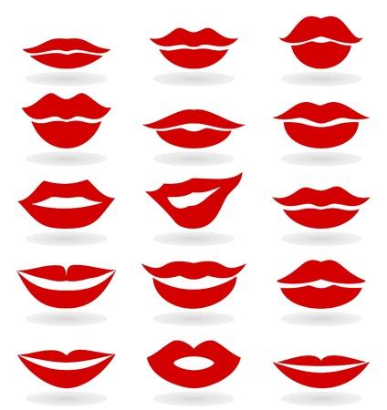 beso labios: Conjunto rojo de la muchacha de los labios Vectores