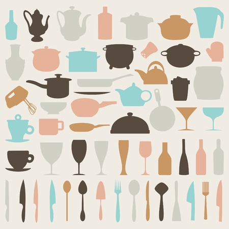 Set of icons on a theme kitchen   Stock Vector - 15893678