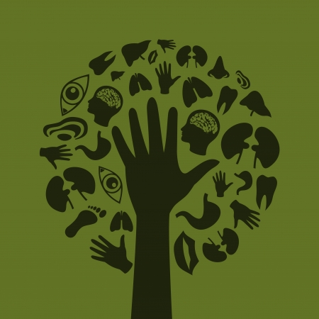 Hand of the person in the form of a tree  A  illustration Vector