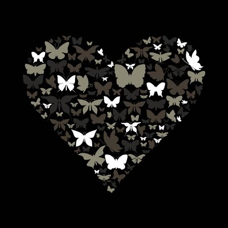 Heart collected from butterflies  A  illustration Vector