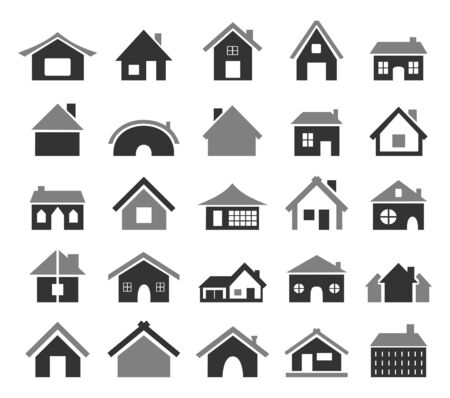 Set of icons of houses  A  illustration Stock Vector - 16027839