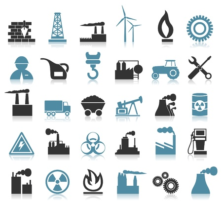 Set of icons on a theme the industry  A  illustration Vettoriali