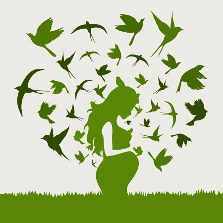 thoughtfulness: From the pregnant woman birds take off  A  illustration