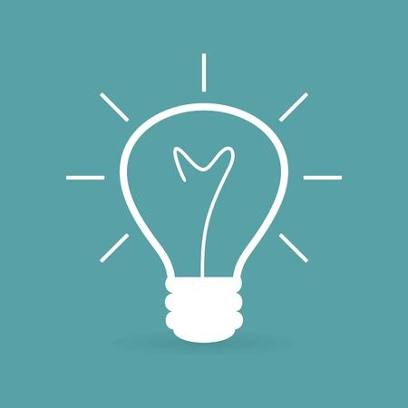 idea lamp: White bulb on a dark blue background. A illustration