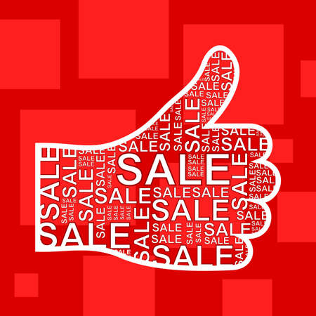 Hand with sale on a red background  A illustration Stock Vector - 16132689