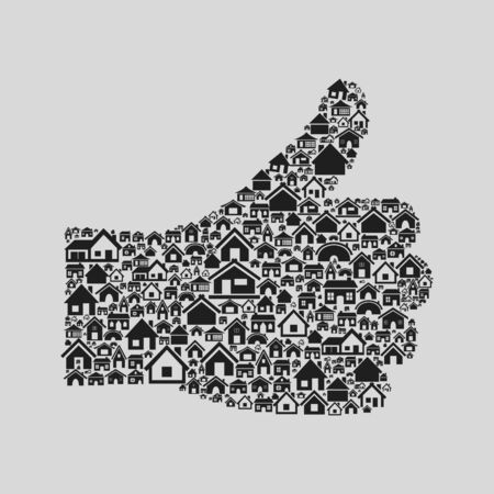 Hand from houses and buildings  A illustration Stock Vector - 16132675
