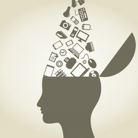 phone system: The head gives out ideas of electronics  A illustration