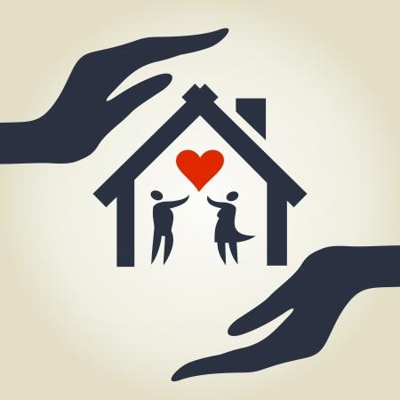 Das Haus für die Liebe in den Händen Eine Illustration