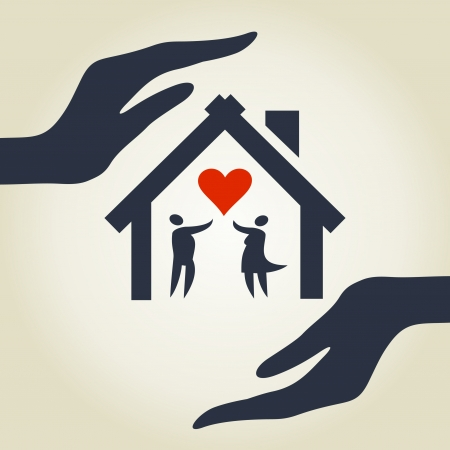 home icon: The house for love in hands  A illustration Illustration