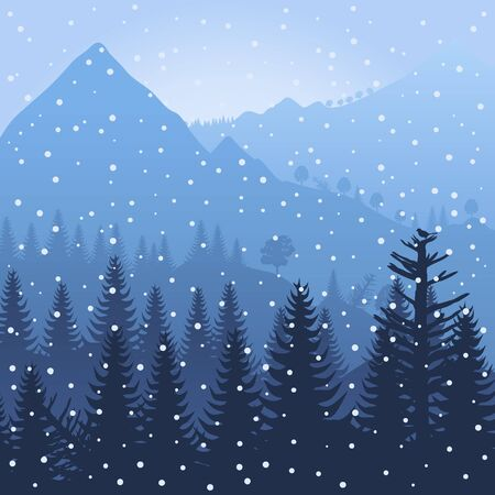 Winter wood in mountains  A illustration Stock Vector - 16132691