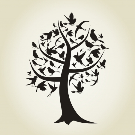 fall scenery: On a tree birds sit  A illustration