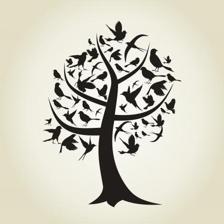 boom met vogels: Op een boom vogels zitten Een illustratie Stock Illustratie