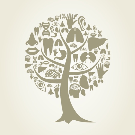 Tree made of body parts  A illustration Vector