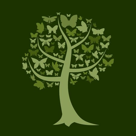 crone: Tree with a crone from butterflies  A illustration